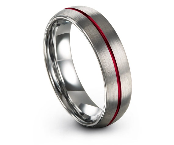 Silver Grey Tungsten Ring,6mm,8mm,His and Hers Wedding Band Set,Center Engraved Red Line Tungsten Carbide Men Ring,Matching Ring