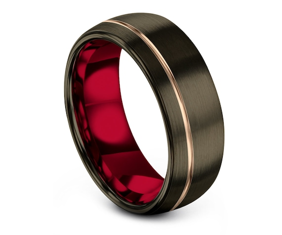 Mens Wedding Band Tungsten Red - Set His and Her - 8mm Gunmetal Tungsten Carbide Ring - Couple Promise Ring - Free Engraving - Free Shipping