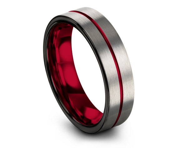 Silver Mens Wedding Band,Red Tungsten Engraving Ring,Multi Band Ring,Women Black Ring,Anniversary Matching Ring,Gifts for Him,Comfort Fit