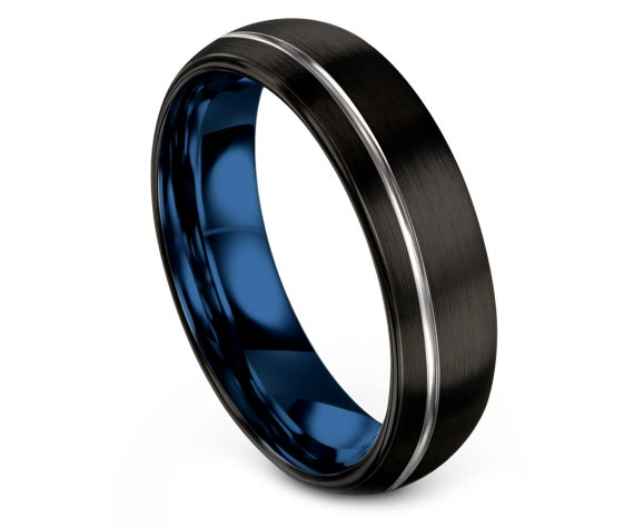 Black Domed Tungsten Band, Tungsten Wedding Ring, Off Center Silver Line, Mens Wedding Band Blue, Promise Ring, Comfort Fit, Couple Gifts