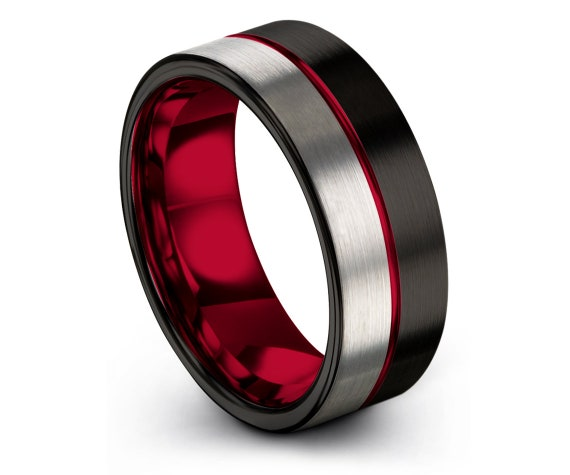 Red Wedding Band,Flat Tungsten Engagement Ring,Tungsten His and Hers Rings,Black and Silver,Gift For Couple,Engraved Ring,Fast Shipping