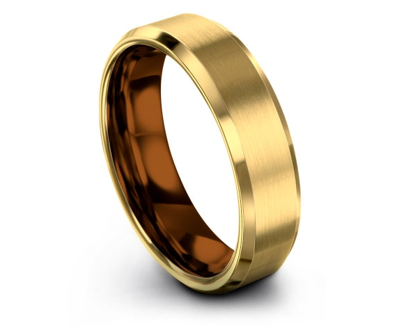 Tungsten Wedding Bands Copper,Mens Yellow Gold Tungsten Ring 6mm,Tungsten Engagement Ring,Tungsten Ring Set,Custom Rings,Personalized Gifts