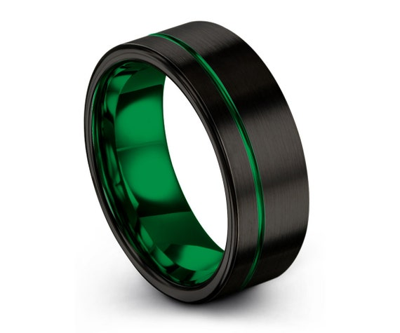 Mens Wedding Band Black, Green Wedding Ring, Tungsten Ring 8mm, Personalized, Engagement Ring, Promise Ring, Gifts for Her, Gifts for Him