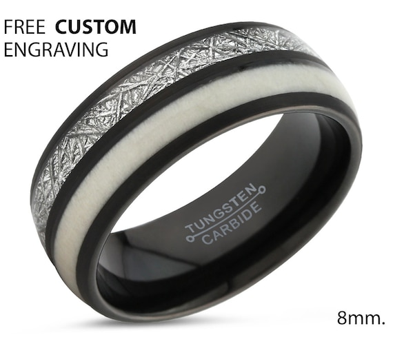 Meteorite Deer Antler Tungsten Ring Black - Unique Mens Wedding Band - Promise, Anniversary, Personalized Gift Ring - FREE CUSTOM ENGRAVING