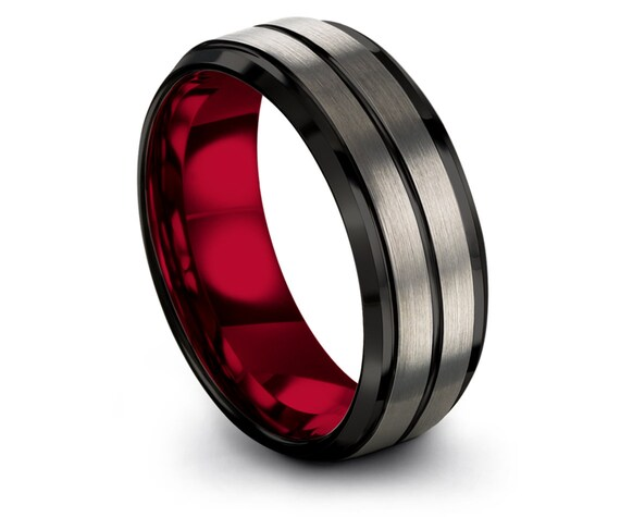 Red Engagement Rings, Mens Wedding Band, Silver Tungsten Ring, Black Tungsten Ring, Engravable Ring, Center Line Black, Gifts For Husband