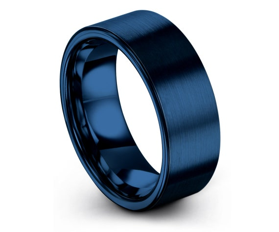 Solid Blue Ring | Brushed Tungsten Ring | Flat and Comfort Fit | Blue Tungsten Ring | Wedding Ring Set | Customized Gifts | Mothers Gifts