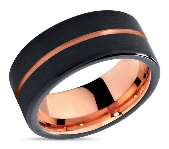 Mens Wedding Band Black, Rose Gold Wedding Ring, Tungsten, Engagement Ring, Promise Ring, Personalized Ring, Rings for Men, Rings for Women