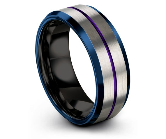 Fathers Day Gift, Silver Tungsten Wedding Band, Black Tungsten Band, Purple Engraving Line 8mm, Mens Blue Wedding Band, Promise Ring