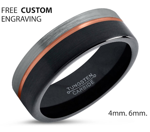 Tungsten Ring Half-Brushed Silver, Mens Wedding Band Black 6mm, Engagement Ring, Promise Ring, Rings for Men, Rings for Women, Black Ring
