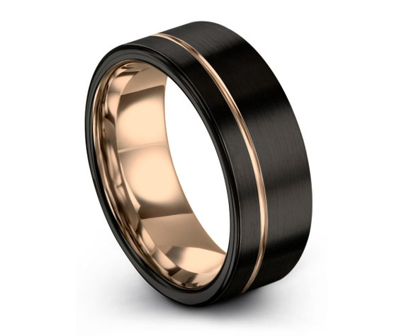Mens Wedding Band Black, Rose Gold Tungsten Ring 7mm 18K, Wedding Ring, Engagement Ring, Promise Ring, Rings for Men, Rings for Women