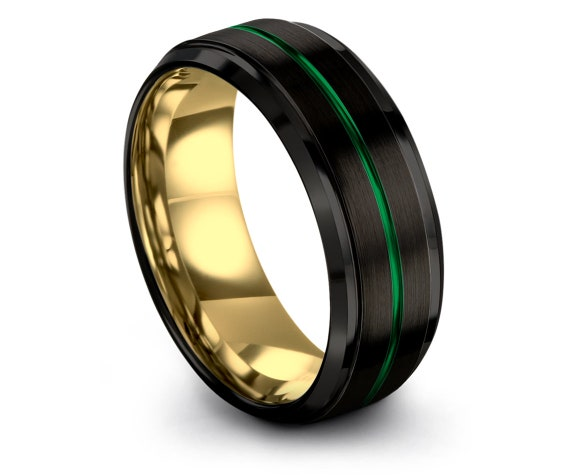Gold Tungsten Ring,Black Yellow Gold Tungsten,Tungsten Carbide,Couples Ring,Size 8 Ring,Men'S Band,Sister Gift For Wife,Yellow Gold Ring Set