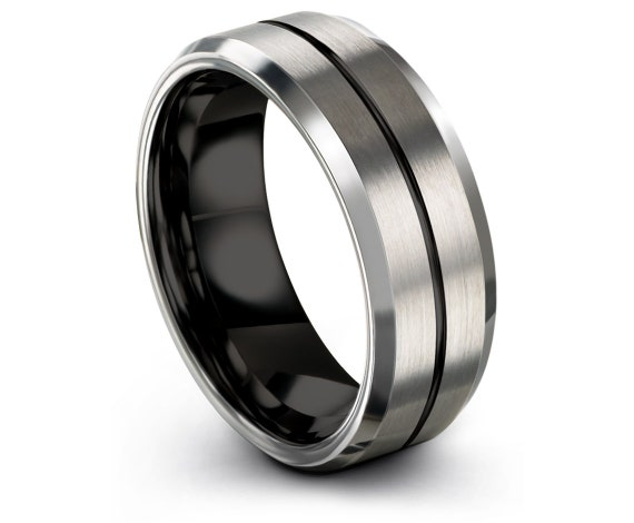 Brushed Polished Silver Ring | Tungsten Ring for Men | Engraving Wedding Ring | Thin Ring | Mens Black Ring | Infinity Ring | 6mm. 8mm.