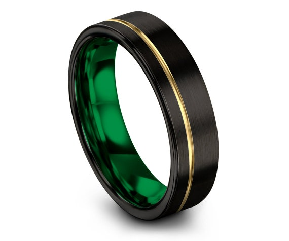 Men's Tungsten Wedding Band, Black His and Hers Wedding Bands, Yellow Gold Band, Tungsten Carbide Ring 6mm, Gifts for Him, Size 7 Ring