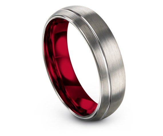 Red and Silver Ring, Domed Brushed Polished Tungsten Carbide Ring 6mm, Offset Engraving Ring, Unisex Wedding Gifts, Comfort Fit, 6mm 8mm