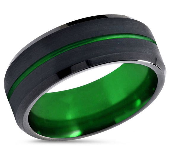 Mens Wedding Band Green, Tungsten Ring Black 8mm, Wedding Ring, Engagement Ring, Promise ring, Rings for Men, Rings for Women, Black Ring