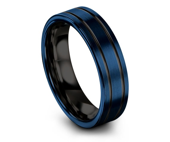 Brushed Tungsten Wedding Band Men, Black and Blue, Double Line Engraving Band, Blue Wedding Band Ring,Wedding Band, First Anniversary, Gifts