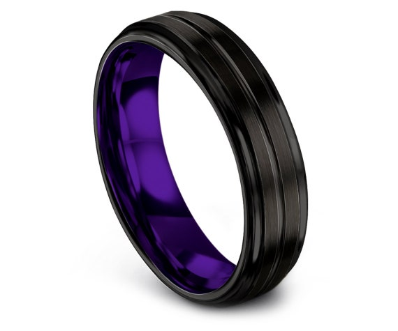 Brushed Tungsten Ring Black Purple | Wedding Tungsten Ring | His and Hers Wedding Rings | Customized | Tungsten Ring Men | Engraved Ring