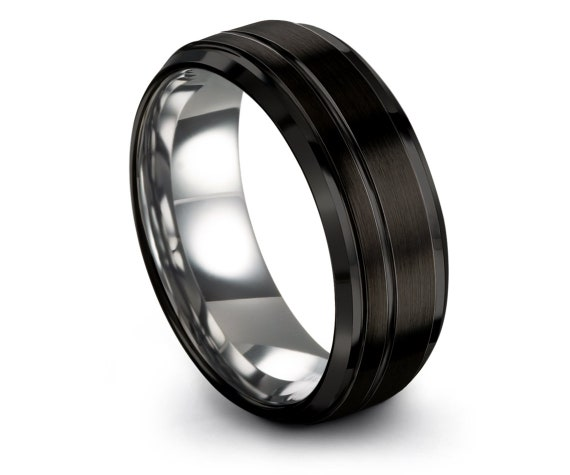 Personalized Ring | Tungsten Wedding Ring | Black Brushed Ring | Offset Engraving Line | Unisex Wedding Band | Women Band | Comfort Fit