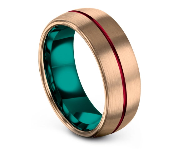 8MM Tungsten Wedding Band, 18K Rose Gold Tungsten Band, Teal Tungsten Band, His and Hers, Promise Ring, Free Engraving, Free Shipping