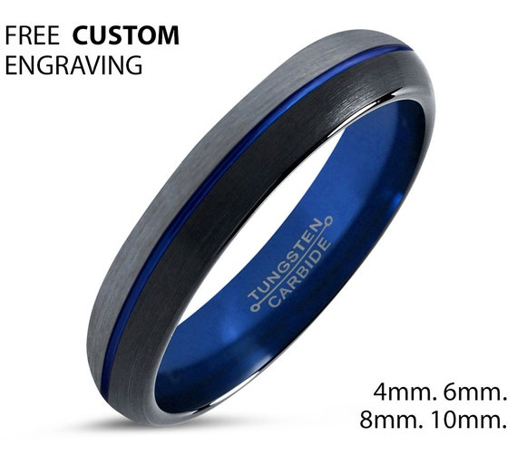 Unique Blue Tungsten Ring | Perfect for his & hers, best friend, boyfriend, men and women, girlfriend, mom or dads gifts | Personalized