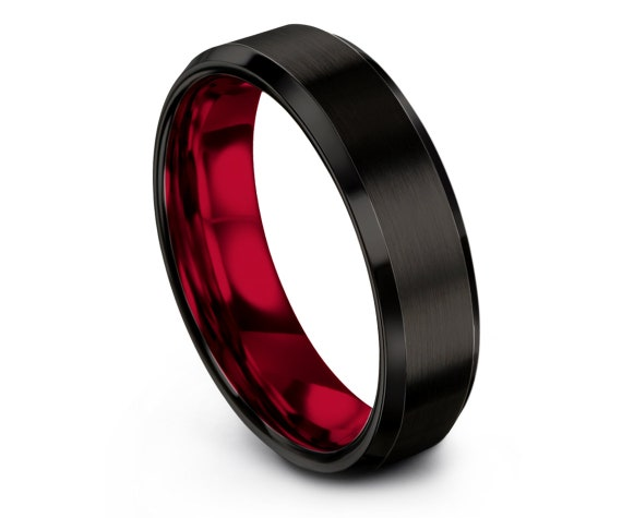 Black Brushed Tungsten Wedding Band Mens | Red Engagement Ring | Beveled Tungsten Band | His and Hers Rings | Matching Ring | Free Shipping