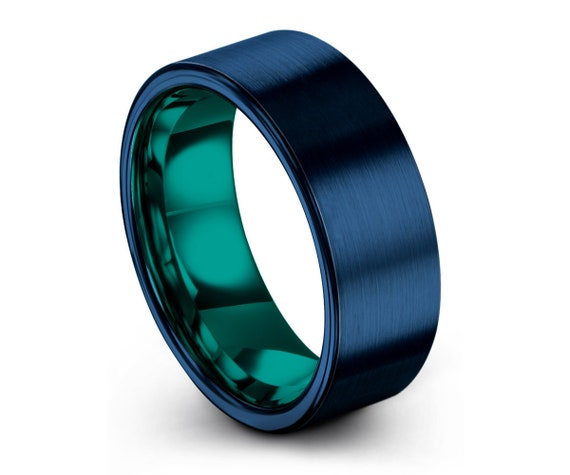 Thin Blue Teal Mens Tungsten Carbide Wedding Band Ring with Free Personalized Engraving and Fast Shipping Included Brushed Gray Flat Comfort