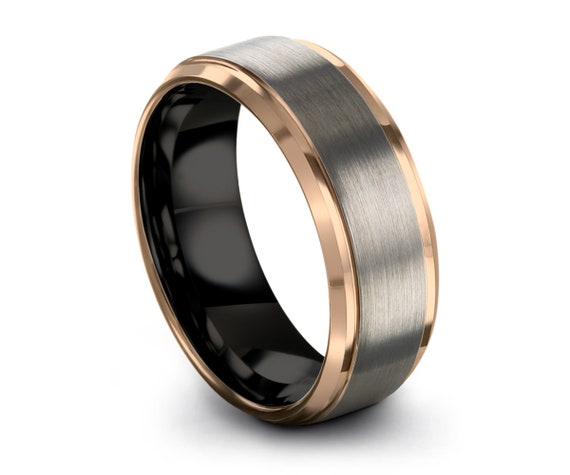 Tungsten Wedding Band Ring Rose Gold Wedding Band Ring Carbide 10mm 8mm 6mm 4mm 18K Tungsten Ring Man Wedding Band Male Women Anniversary