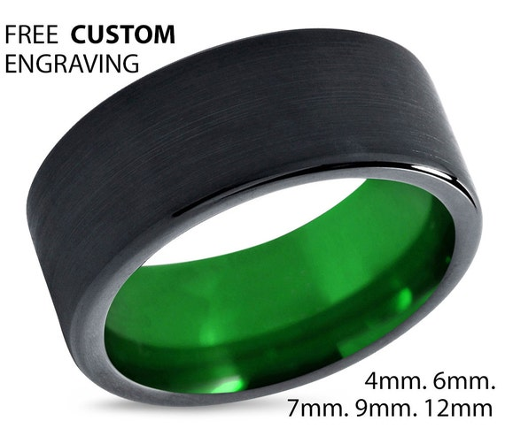 Tungsten Ring Mens Black Green Wedding Band Tungsten Ring Tungsten Carbide 9mm Tungsten Man Wedding Male Women Anniversary Matching Size