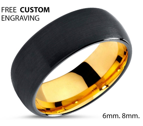 Brushed Gold Black Mens Wedding Band | Tungsten Carbide Ring in Yellow 6mm, or 8mm available | 18K His or Her with Fast Free Shipping