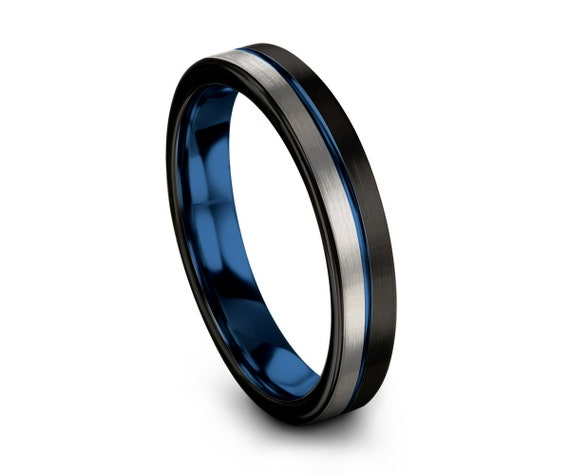 Blue Offset Line Unisex Wedding Band Brushed Black, 4mm Tungsten Ring, Wedding Ring, Engagement Ring, Promise Ring, Perfect Gift Idea