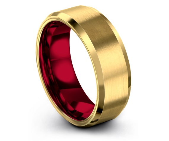 Mens Wedding Band Gold, Red Tungsten Ring, His and Hers Wedding Band Set, 18K Yellow Gold Ring, Anniversary Gift Him For, Gift For Him