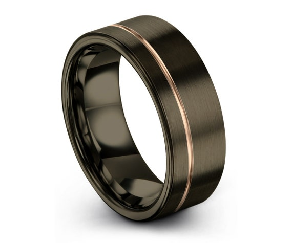 GUNMETAL Tungsten Ring, Mens Wedding Band Rose Gold 18K 8mm, Wedding Ring, Engagement Ring, Promise Ring, Rings for Men, Personalized
