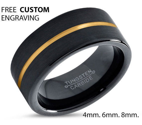 Yellow Gold Line Black Tungsten Ring 8mm Wedding Band Ring Tungsten Carbide Tungsten Ring Man Wedding Band Male Women Anniversary Matching