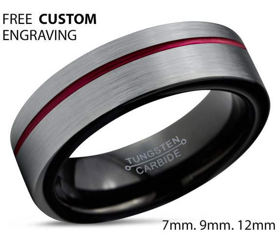 Tungsten Ring Mens Brushed Silver Black Red Wedding Band Tungsten Ring Tungsten Carbide 6mm Tungsten  Man Male Women Anniversary Matching