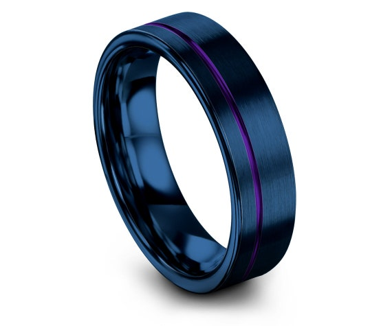 Flat Tungsten Ring Mens Blue | Rustic Wedding Band | Mens Purple Rings| Offset Engraved Ring | Size 15 Ring | Gift For Brother | His and Her