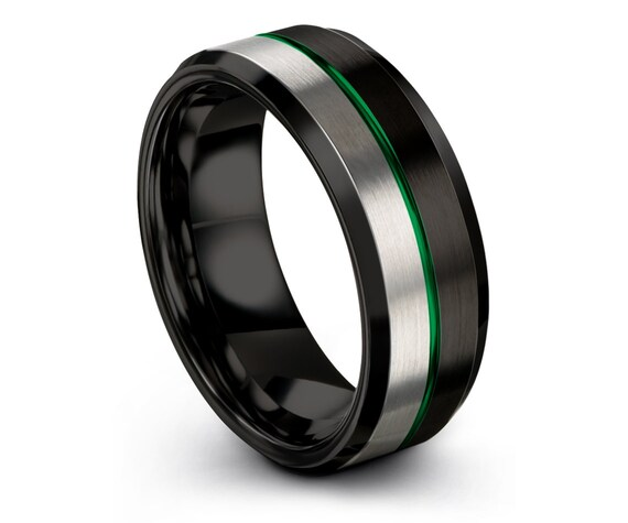 Tungsten Ring Silver,His and Hers,8mm Tungsten Wedding Ring,Black Brushed Tungsten Ring,Center Engraving Green Wedding Band,Gift for Him