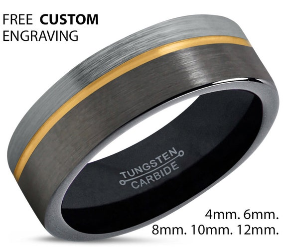 Gold Wedding Band, Brushed Silver Tungsten Ring, Gunmetal, Engagement, Gifts for him, Gifts for her, Anniversary, Wedding, Promise Ring