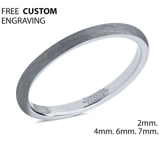 Rings for Women, Tungsten Ring 2mm, Wedding Ring, Engagement Ring, Promise Ring, Minimalist, Simple Ring, Personalized Ring, Silver Ring