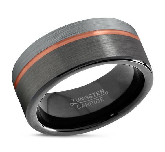 Mens Ring Gunmetal, Mens Wedding Band Rose Gold 18k 8mm, Tungsten Ring, Engagement Ring, Promise Ring, Rings for Men, Rings for Women