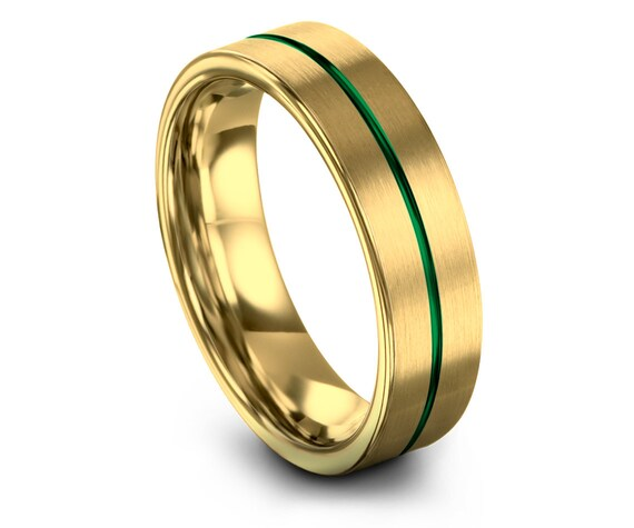 Brushed Yellow Gold Wedding Ring, Flat Tungsten Band 6mm 8mm, Green Line Engraving, Promise Ring, Personalized Ring, Gifts for Him, Comfort