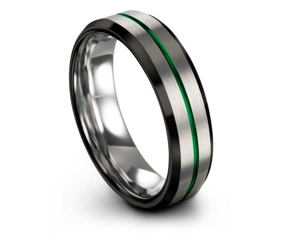 Beveled Silver Tungsten Wedding Band | Tungsten Black Ring | Thin Center Line Green | Promise Ring | Free Engraving | Size 9 Men'S Band