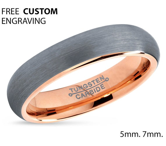 Tungsten Ring Rose Gold Brushed Silver Wedding Band Tungsten Carbide 5mm 18K Tungsten Ring Man Wedding Band Male Women Anniversary Matching