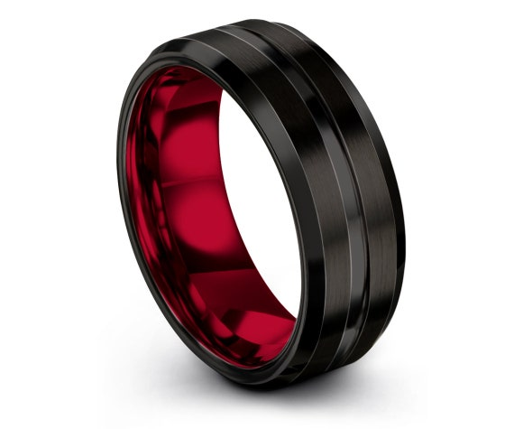 8mm 10mm Beveled Tungsten Wedding Band | His and Hers | Red Inside and Black Outside with Center Engraving | Couple Rings | Free Shipping