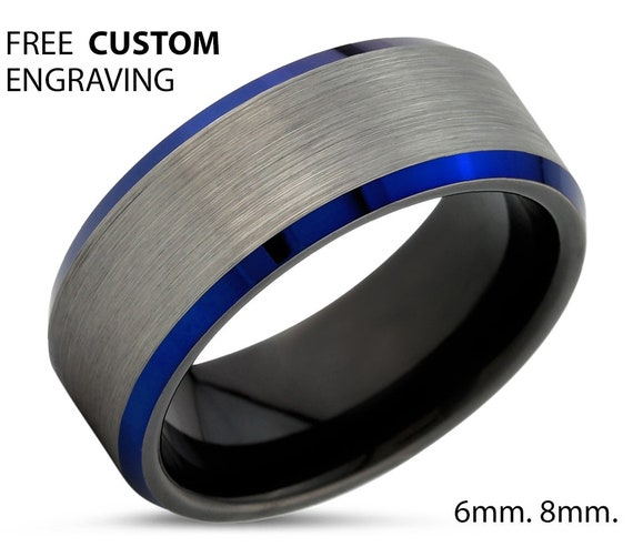 Blue Mens Wedding Band, Handmade Personalized Custom Engraving Tungsten Carbide Engagement Jewelry Ring for Him Free Shipping