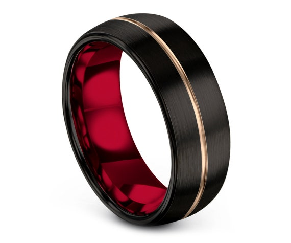 Women Wedding Band Black,Domed Tungsten Band,Brushed Black Ring,Tungsten Carbide 8mm 10mm,Customized Gift,Engagement Band,Free Shipping