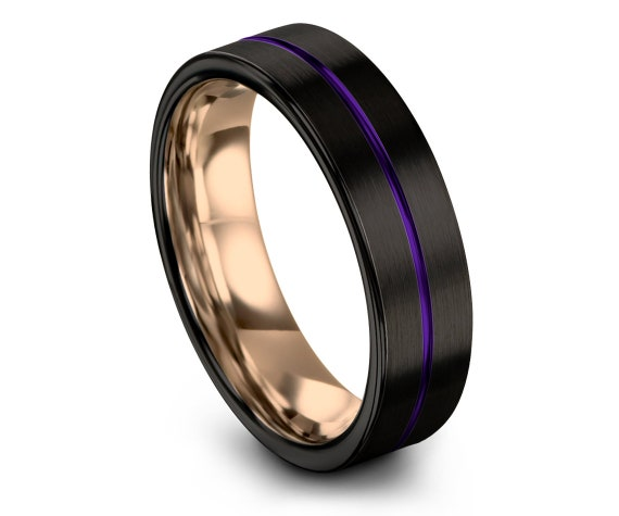 Men's Tungsten Wedding Band | Black Tungsten Ring Band | 18K Rose Gold | Center Line Engraving Purple | Flat Comfort Fit Band | 6mm | 8mm