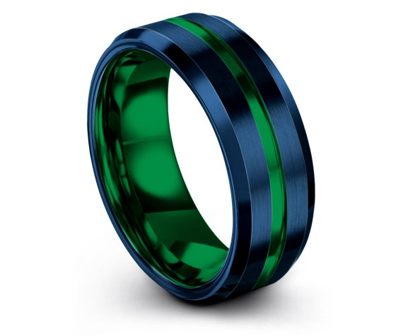 8mm, Blue Tungsten Ring, Tungsten Wedding Set, Center Brushed in Green Engraving, Engagement Ring, Rings for Men, Gifts, Cost Free Shipping