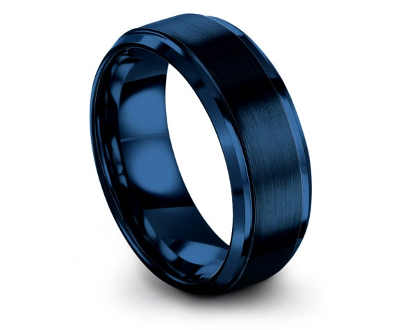 Beveled Tungsten Ring Blue   Unique Gifts   Band for Men   Couple Promise Ring   Wife Gifts For Husband   Custom Rings   Personalized Gifts