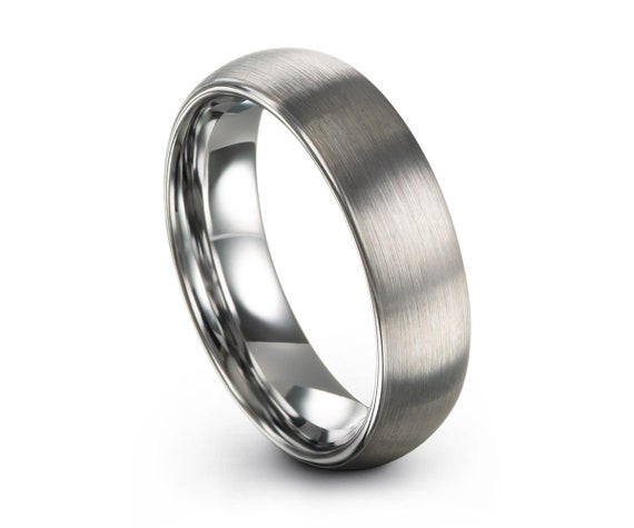 Brushed Silver Tungsten Ring,Tungsten Wedding Band,Tungsten Wedding Ring,Brushed 6mm,Comfort Fit,Anniversary Ring,Engagement Band,Set