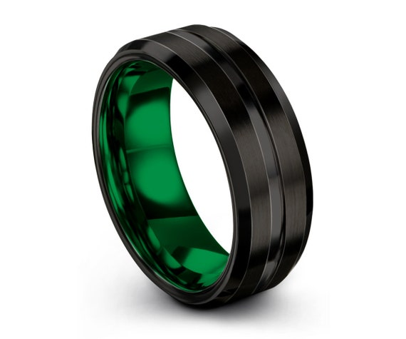 Mens Wedding Band Black, Green Wedding Ring, Tungsten Ring, Personalized Ring, Engagement Ring, Promise Ring, Mens Ring, Gifts for Him